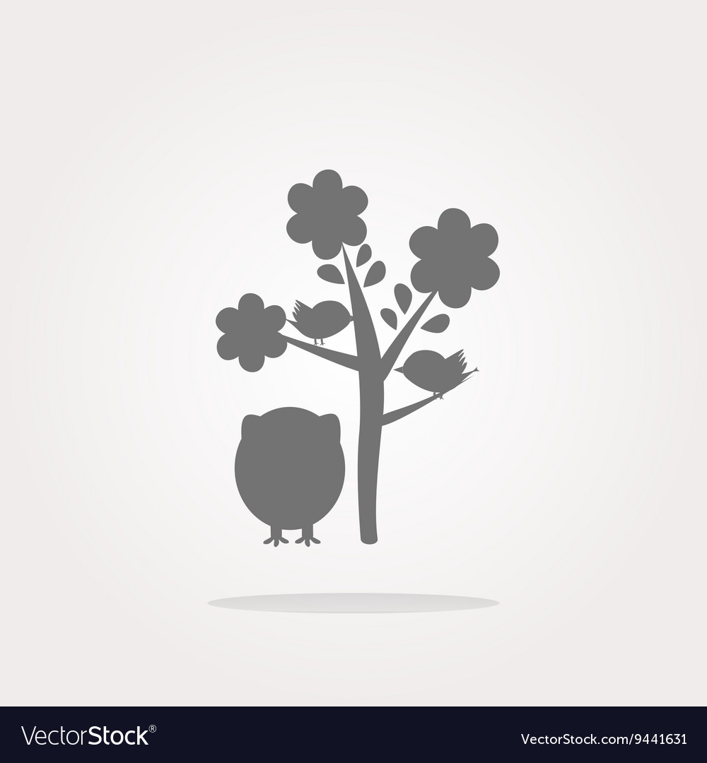 Button with owl and tree isolated on white