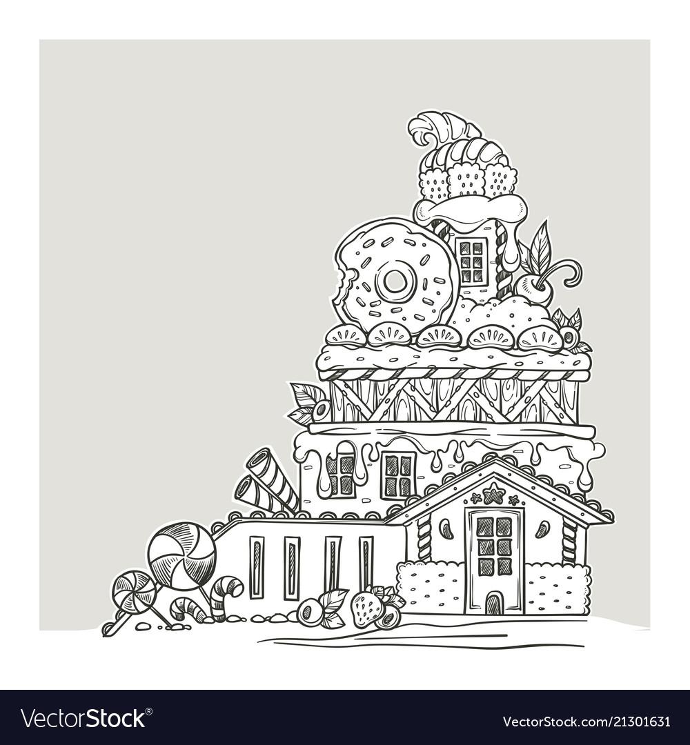 Gingerbread house lovely cartoon castle made