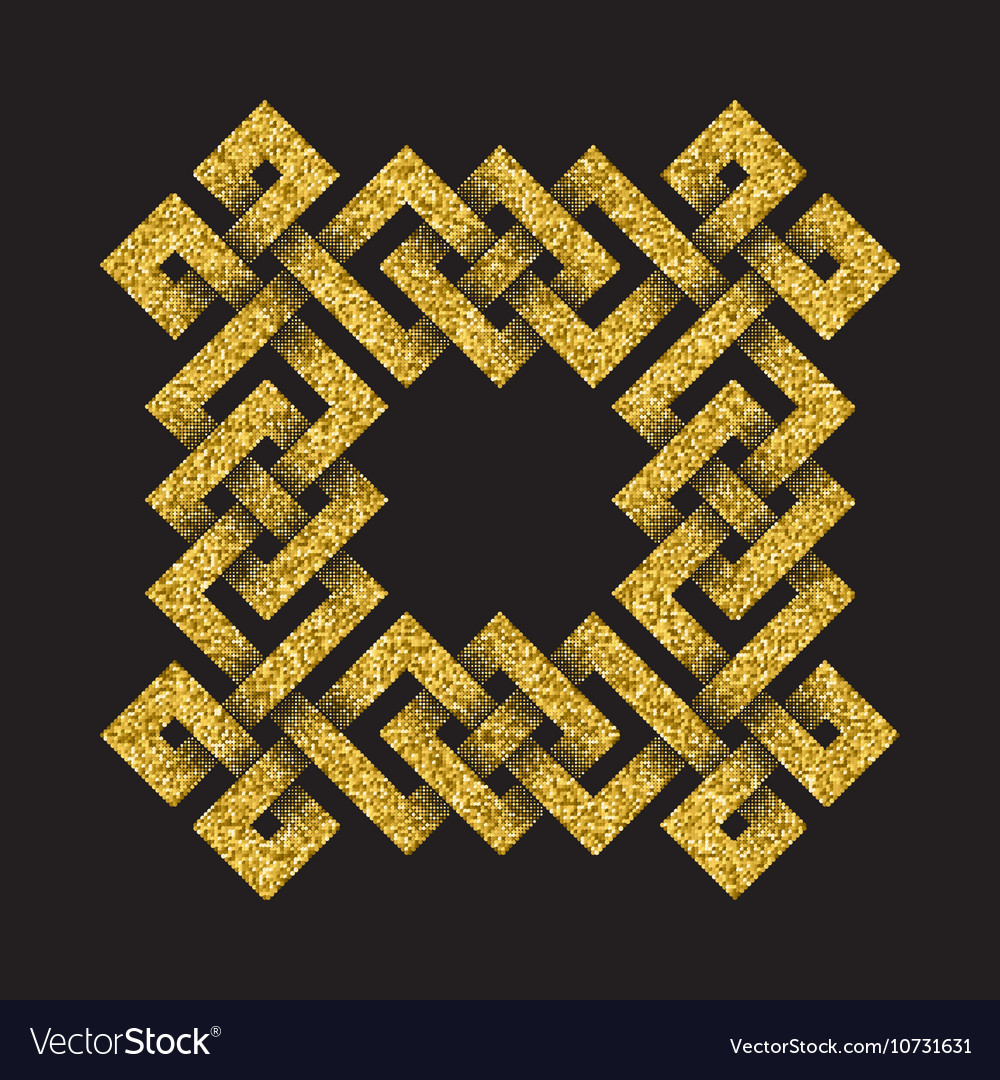Golden glittering logo template in Celtic knots