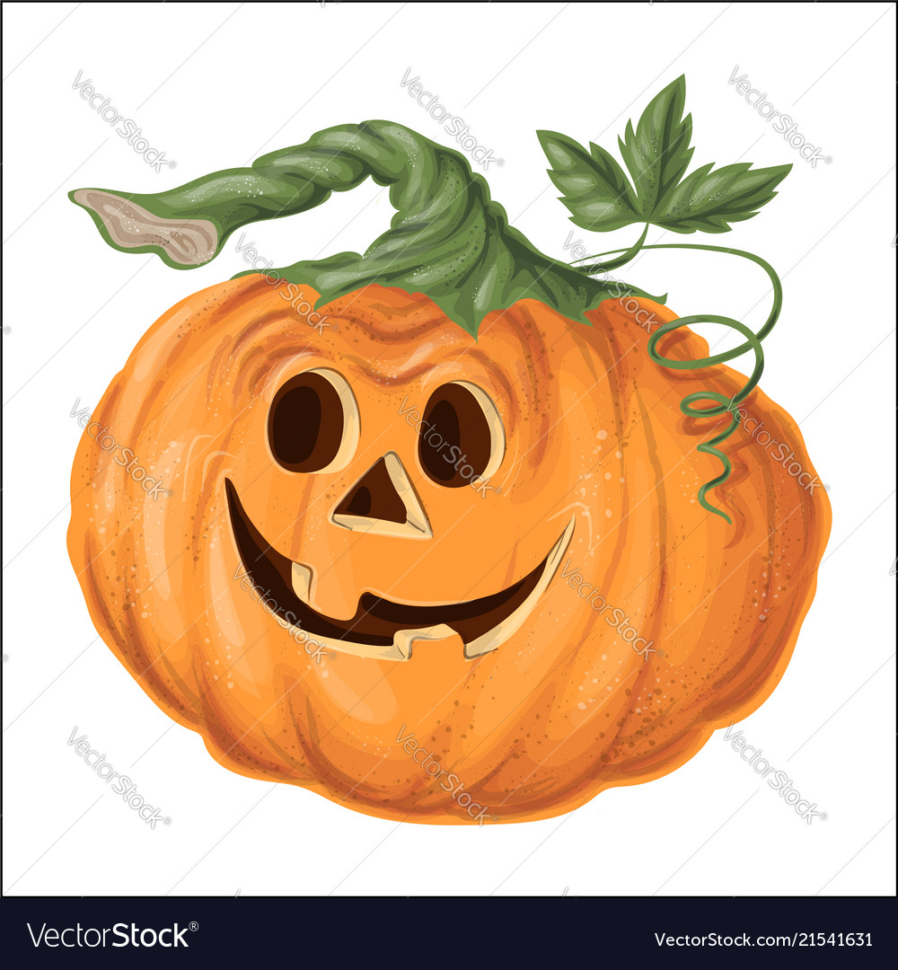 Halloween pumpkin with happy face on white