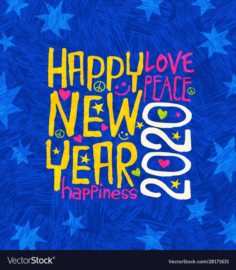 Happy new year 2020 design inspiring handwriting