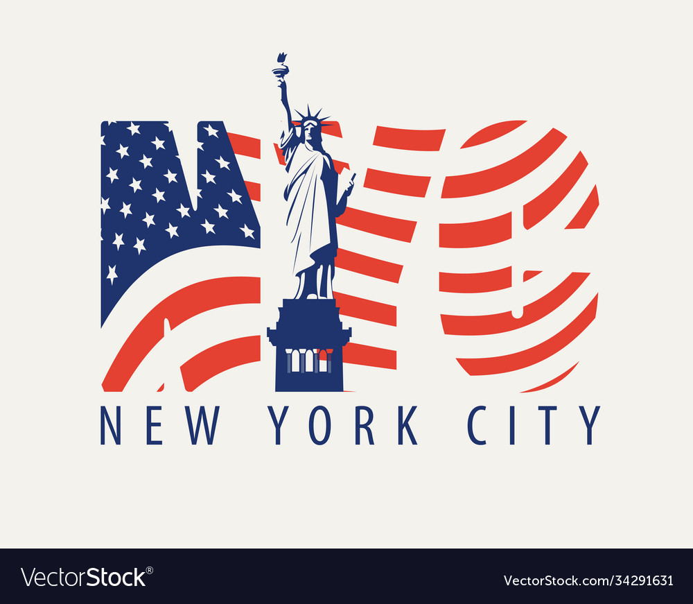 Letters nyc with image american flag