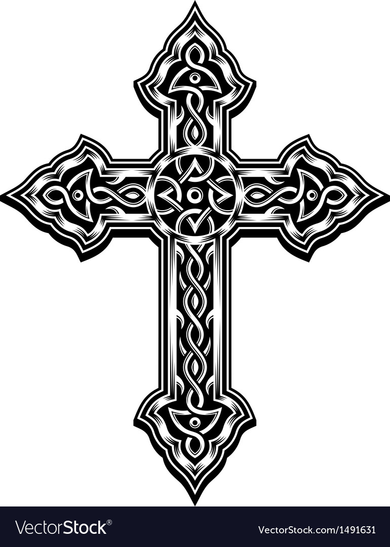 ornate christian cross royalty free vector image rh vectorstock com vector cross product cross vector image