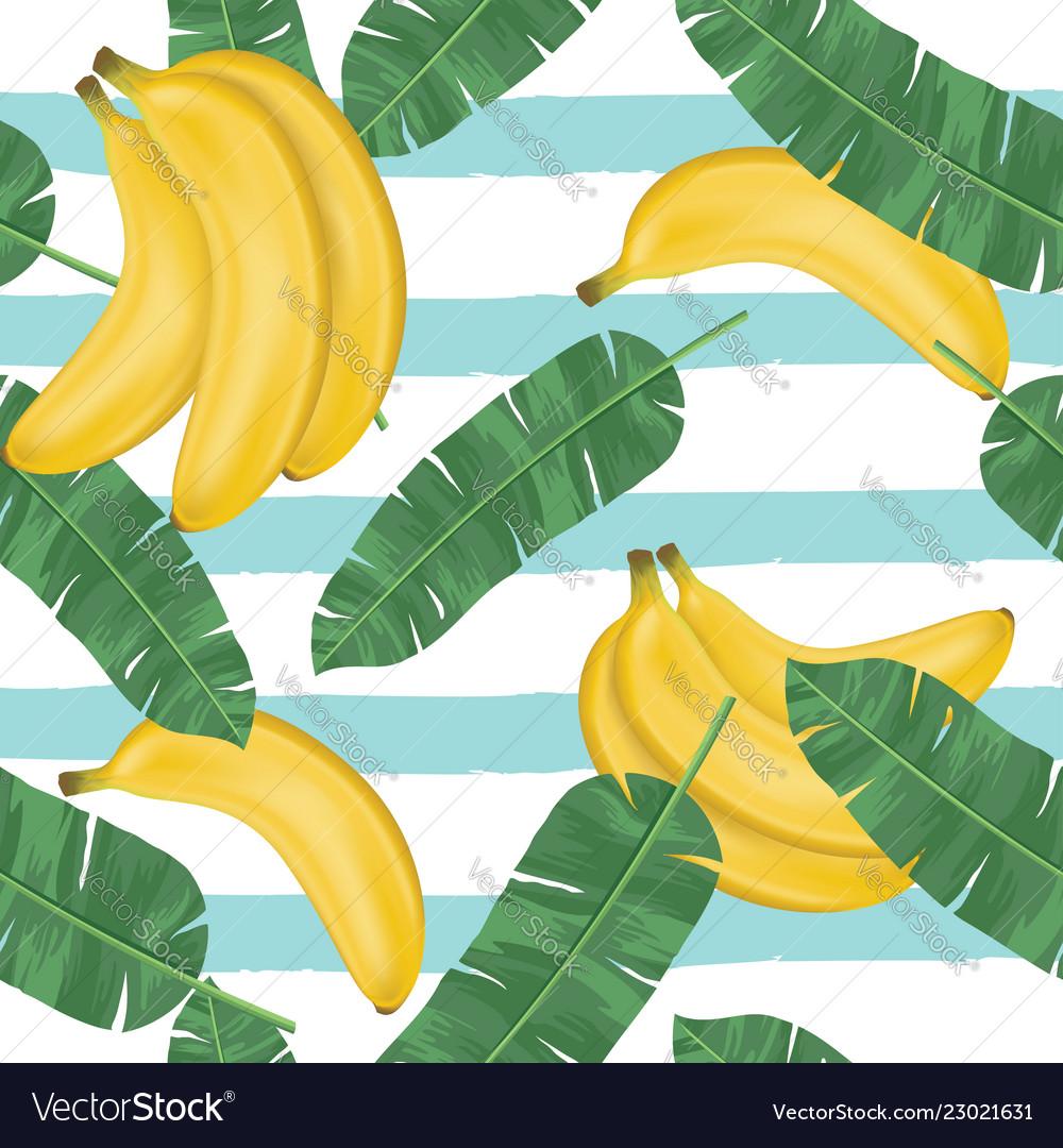 Seamless pattern bananas with banana leaves