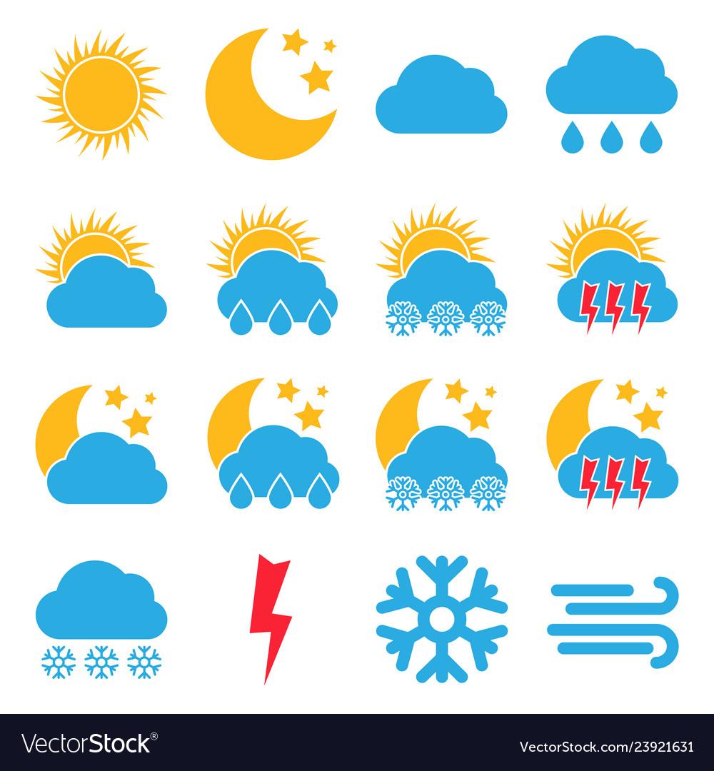 Set of sixteen weather icons