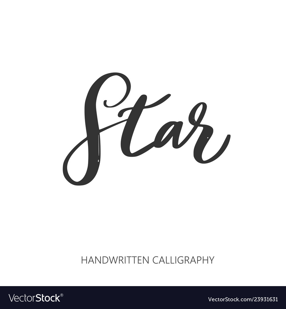 Star handwritten lettering calligraphy