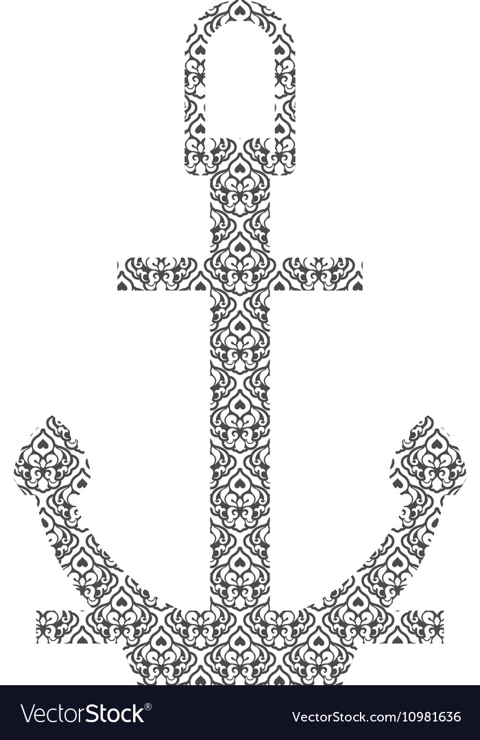 Abstract Anchor Silhouette with Pattern