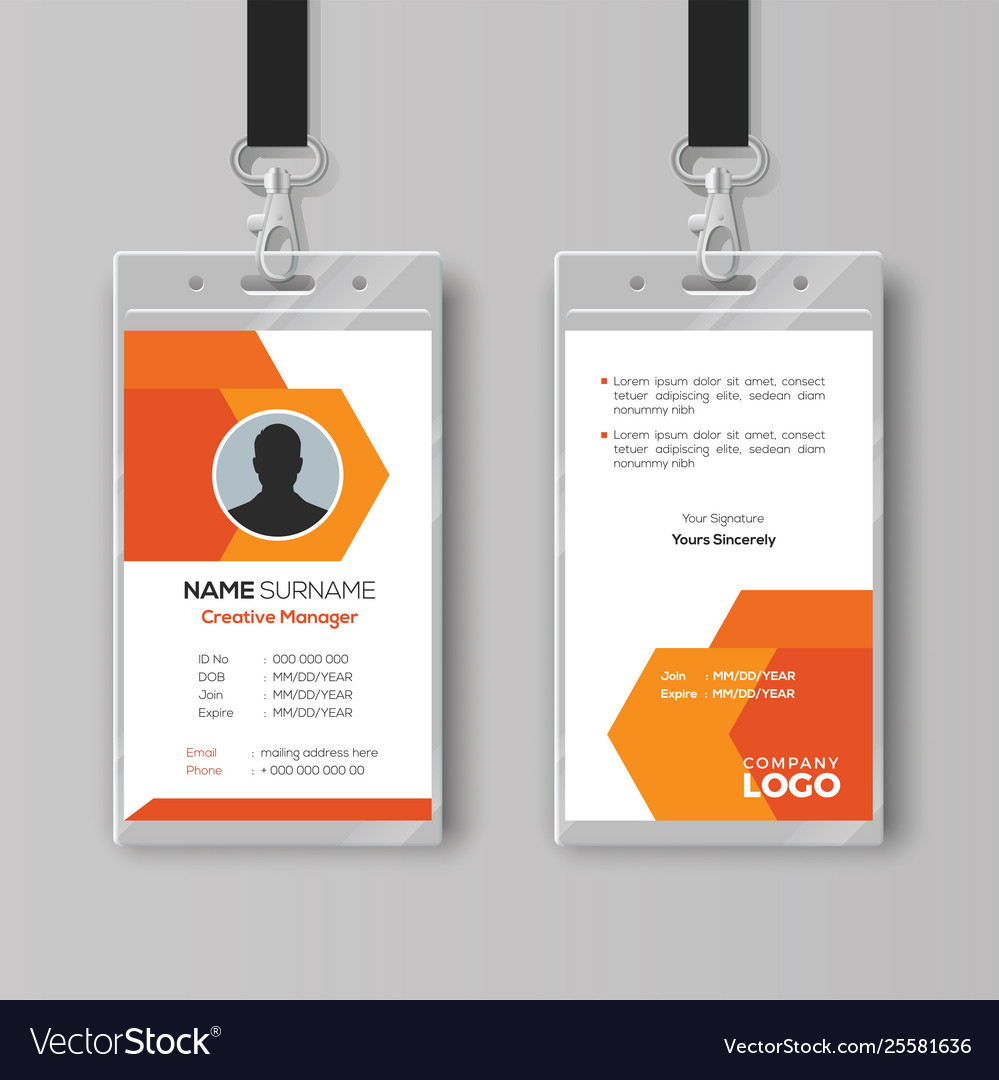 Abstract orange id card design template Royalty Free Vector Within Conference Id Card Template