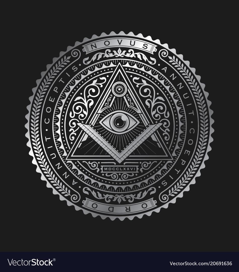 All seeing eye emblem badge logo metallic
