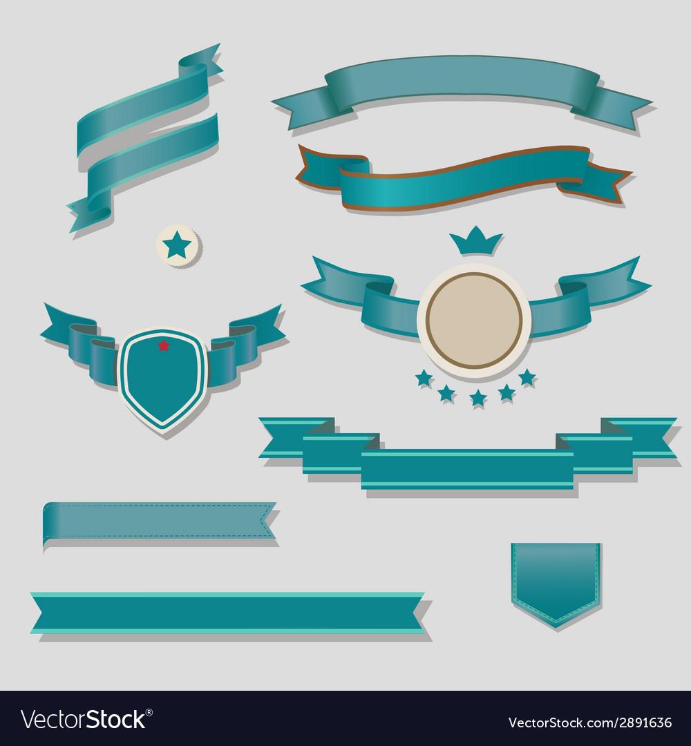 Blue ribbons set
