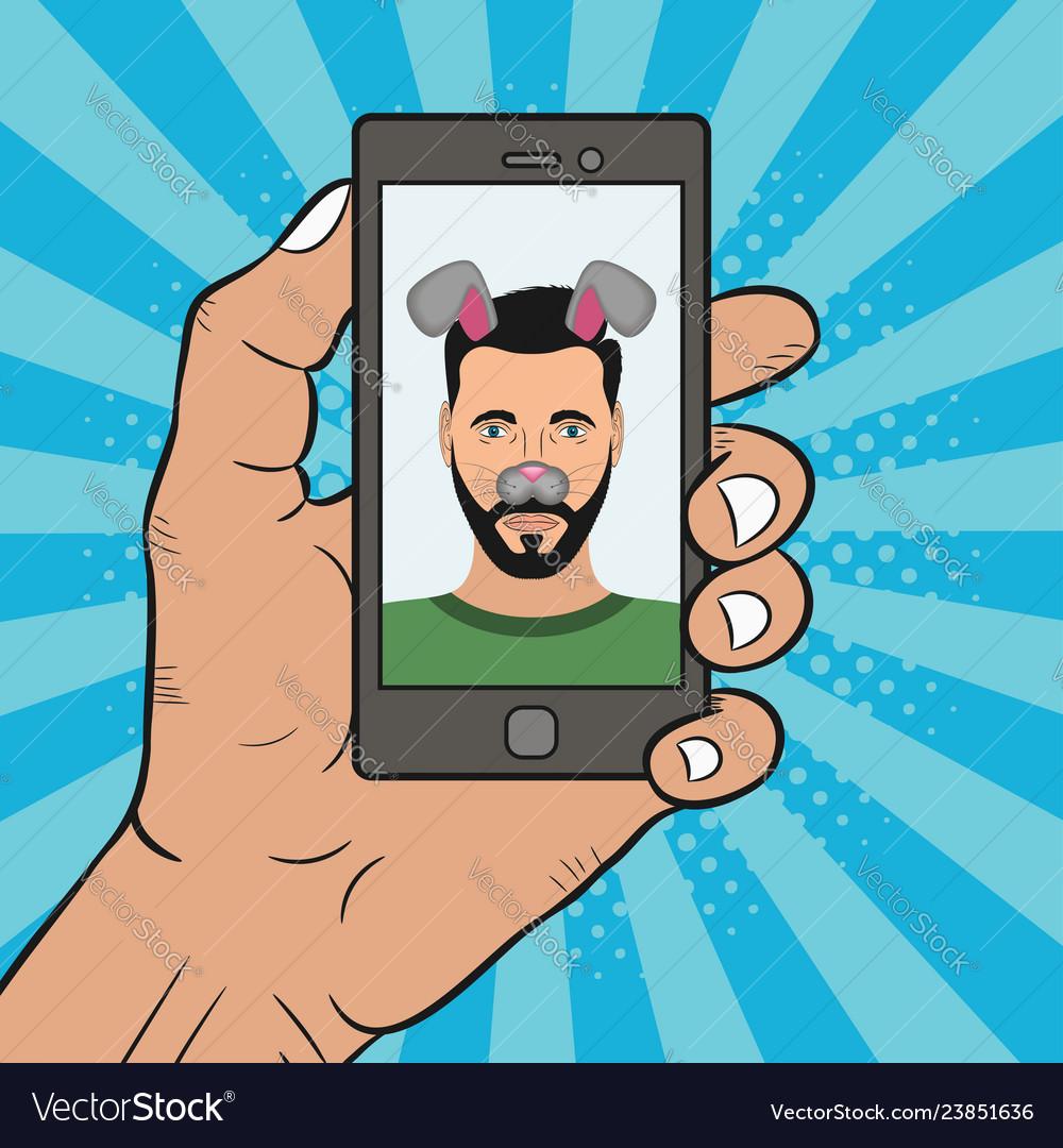 Comic selfie man
