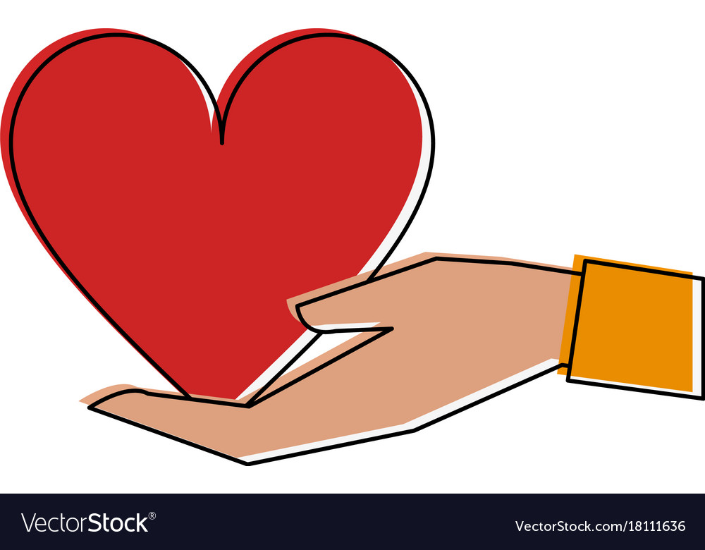 Hand Holding Heart Cartoon Valentines Day Related Vector Image