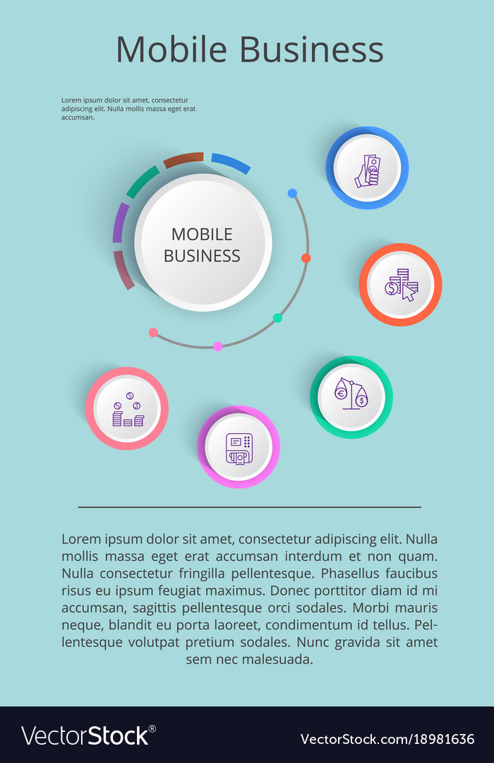 Mobile business solution presentation with icons