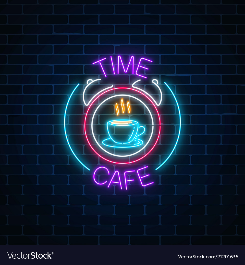 Neon sign of time-cafe with coffee cup in clock