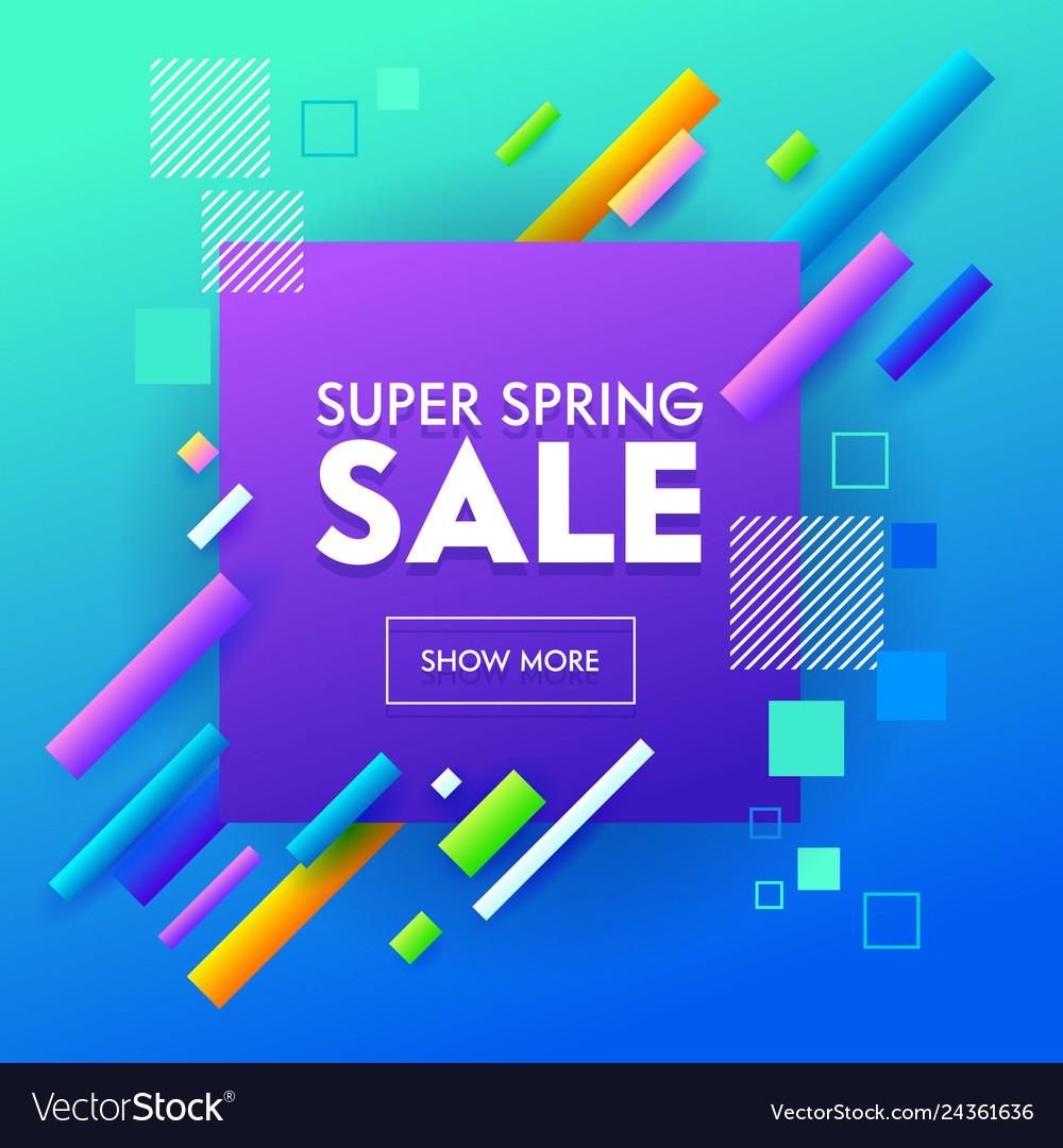 Super sale banner geometric design for online shop