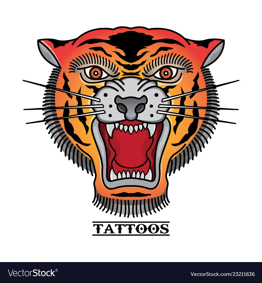 d3aac6c63 Traditional tiger head tattoos Royalty Free Vector Image