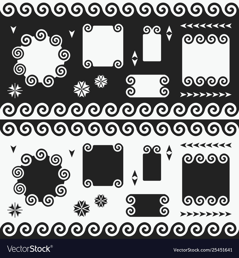 Black and white swirl empty banners emblems set