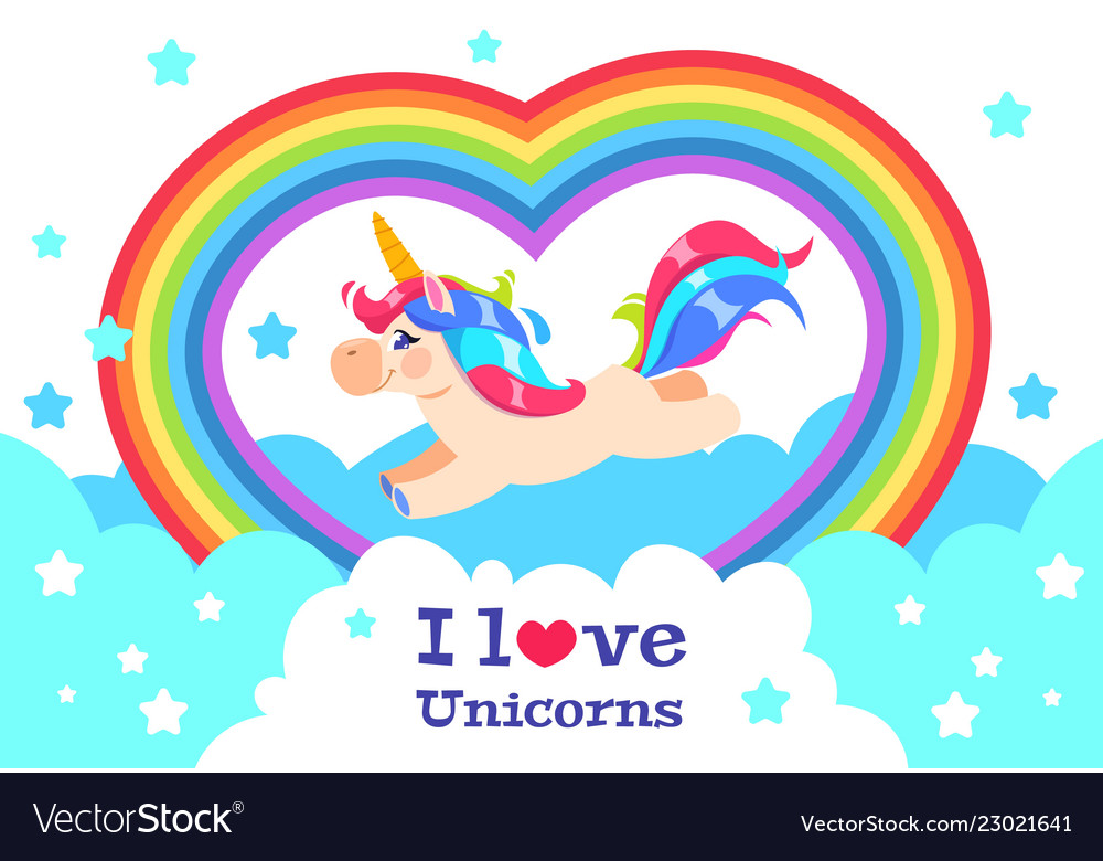 Cute rainbow unicorn cartoon funny baby rainbow