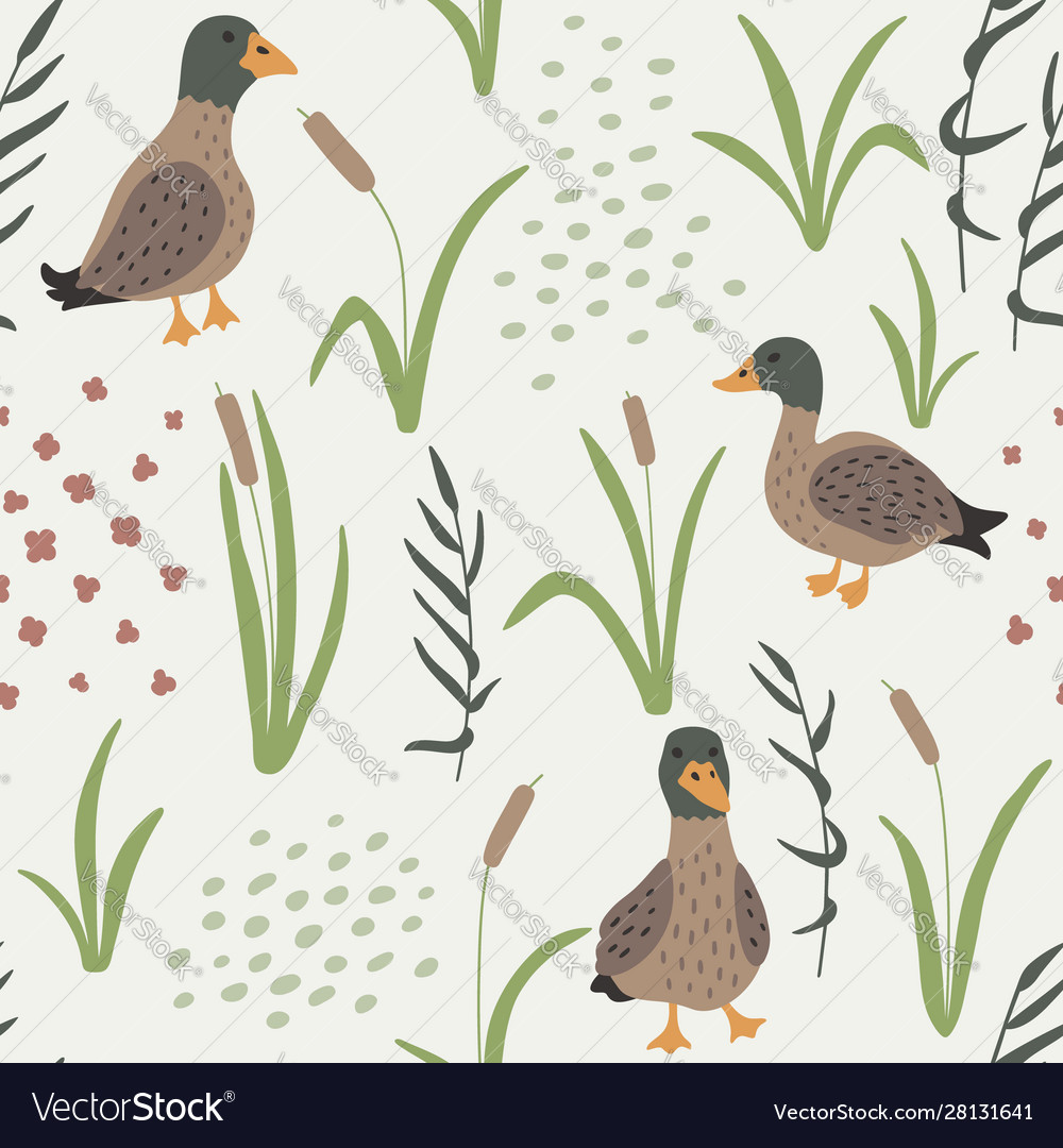 Hand drawn seamless pattern with ducks and grass
