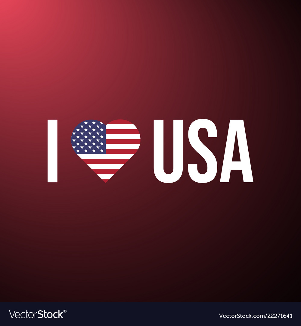 I love usa text with heart flag