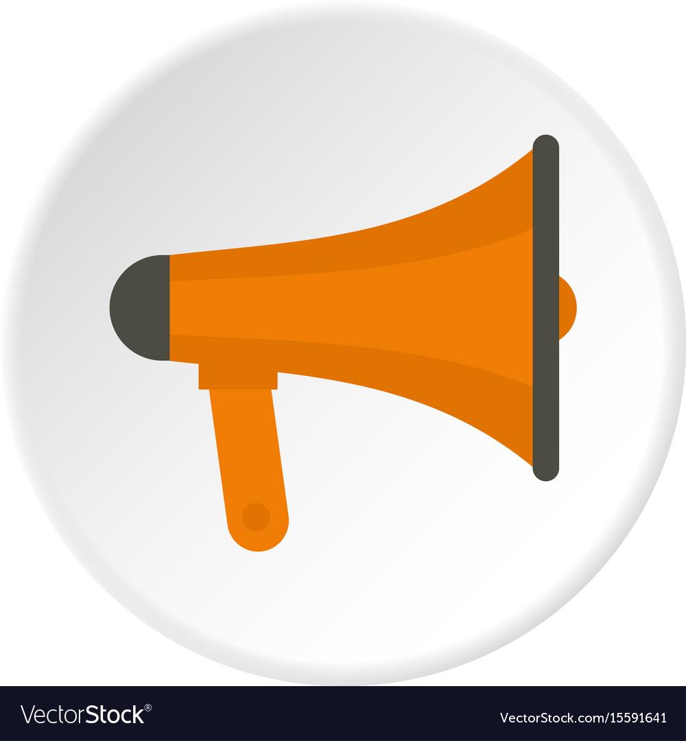 Orange loudspeaker icon circle vector image