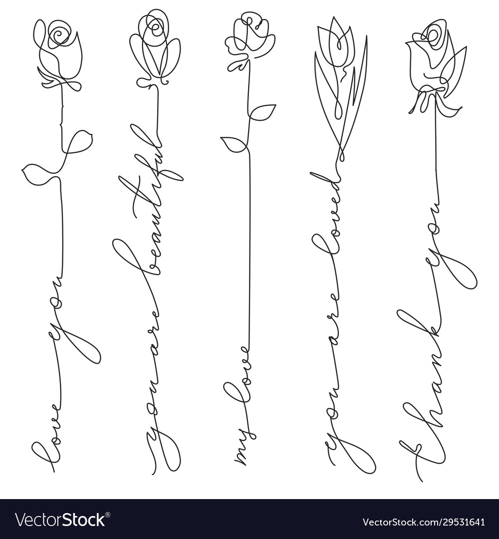 Set line art flowers with lettering