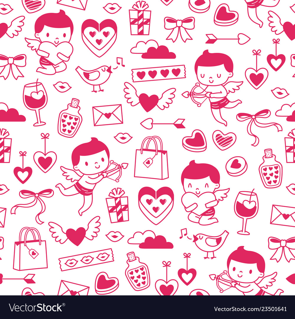 Valentines hand drawn pattern