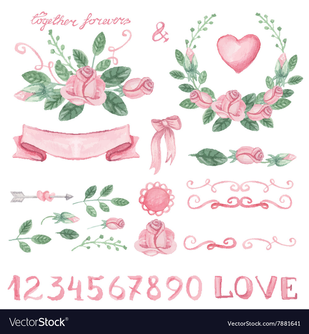 Watercolor pink floral decor set with numbers