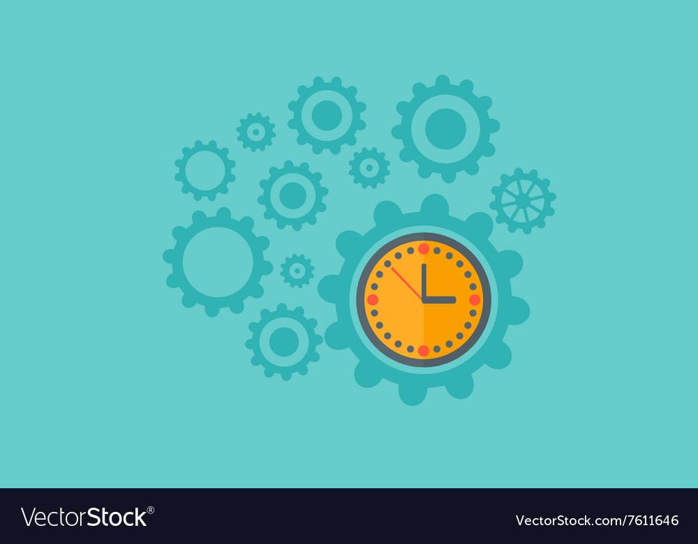 Background of cogwheels and clock mechanism vector image