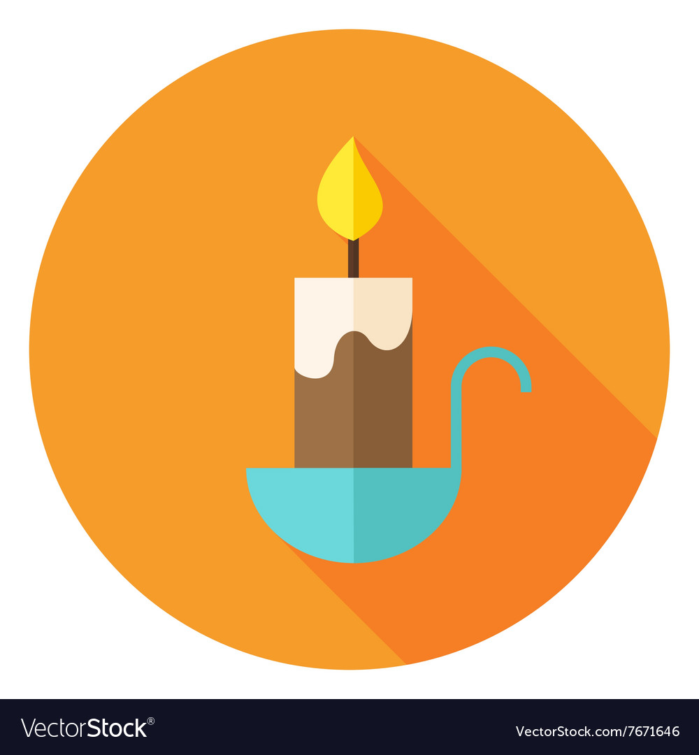Candle Circle Icon with long Shadow vector image