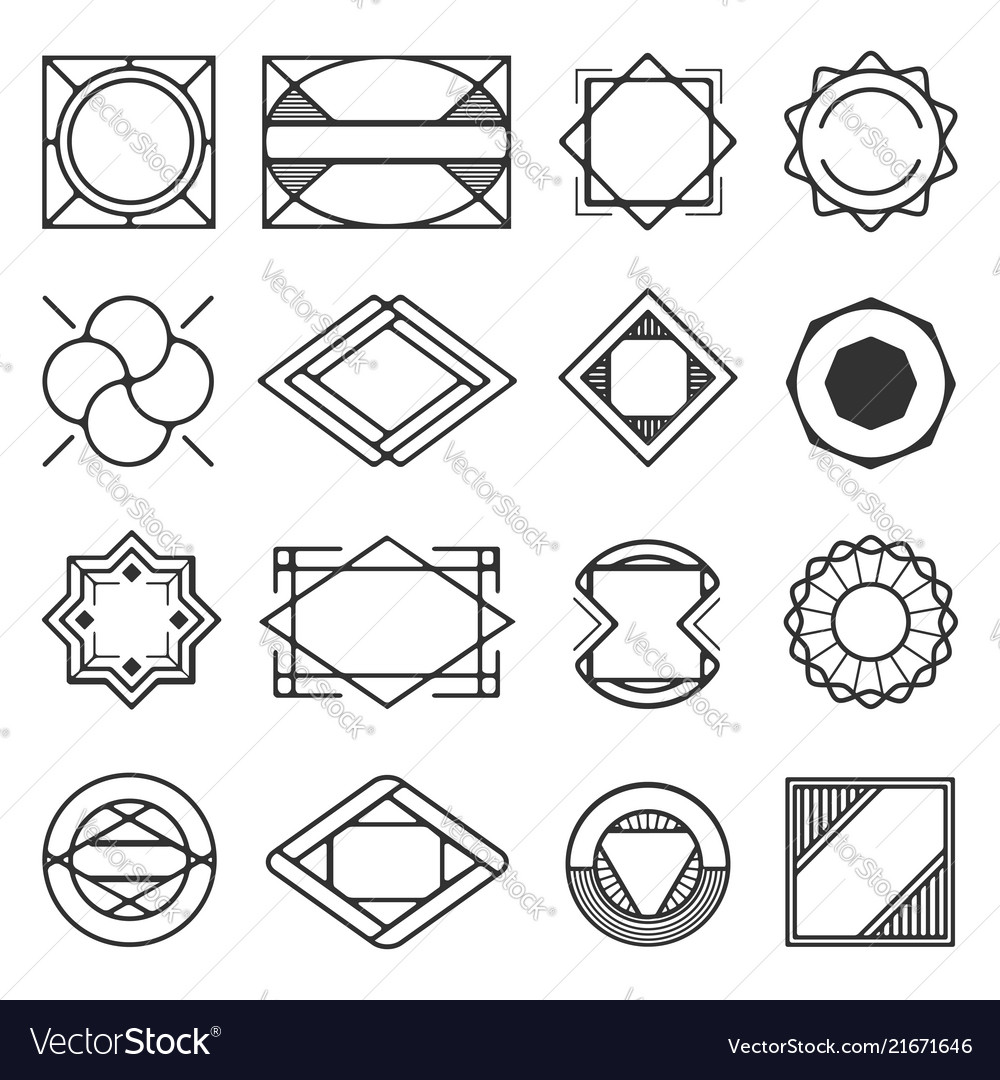 Collection of universal black geometric shapes