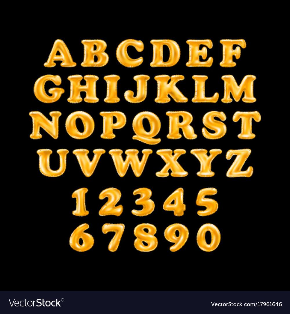 Gold alphabet foil party celebration balloons vector image