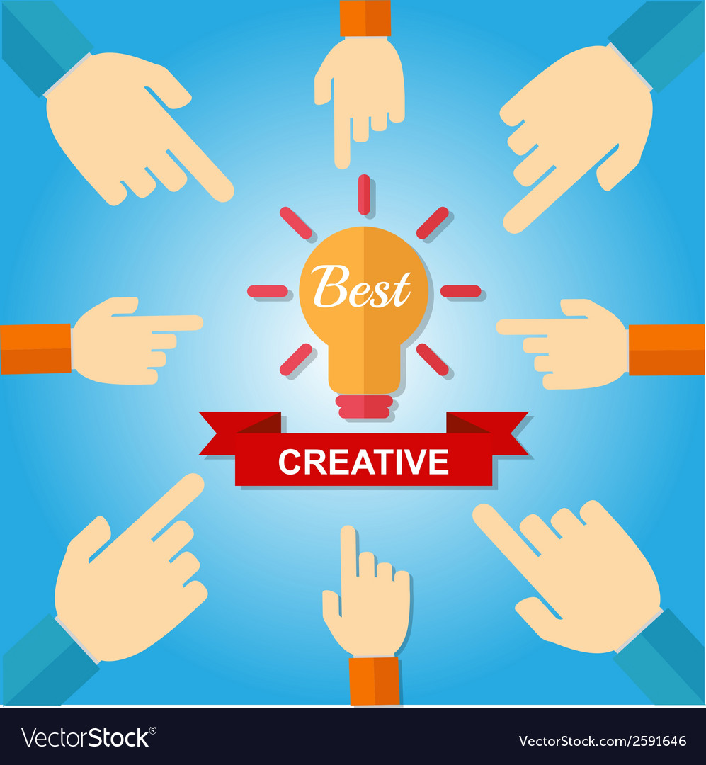 Hand point Best Creative vector image