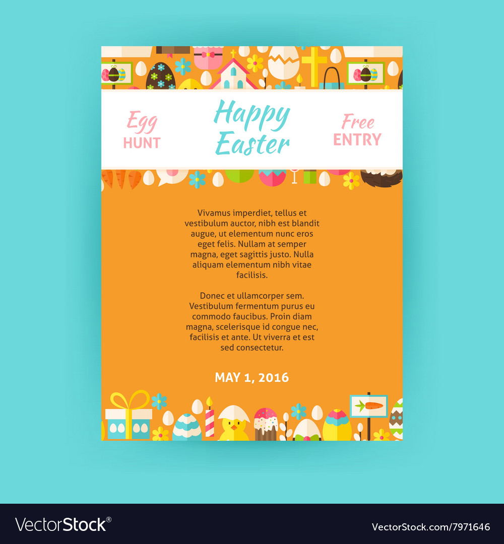 Happy Easter Invitation Template Poster vector image
