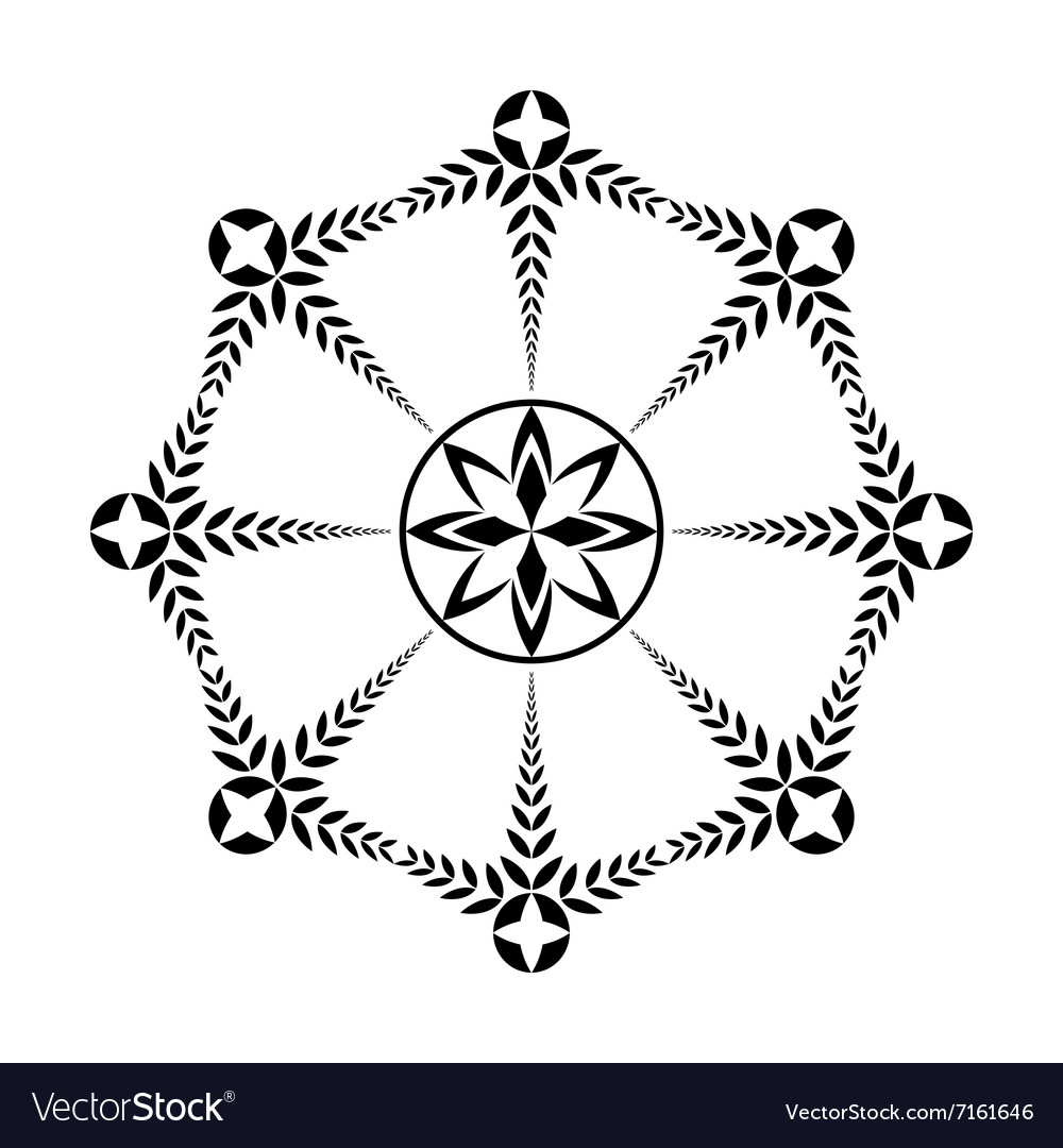Laurel wreath tattoo icon Black ornament Cross vector image