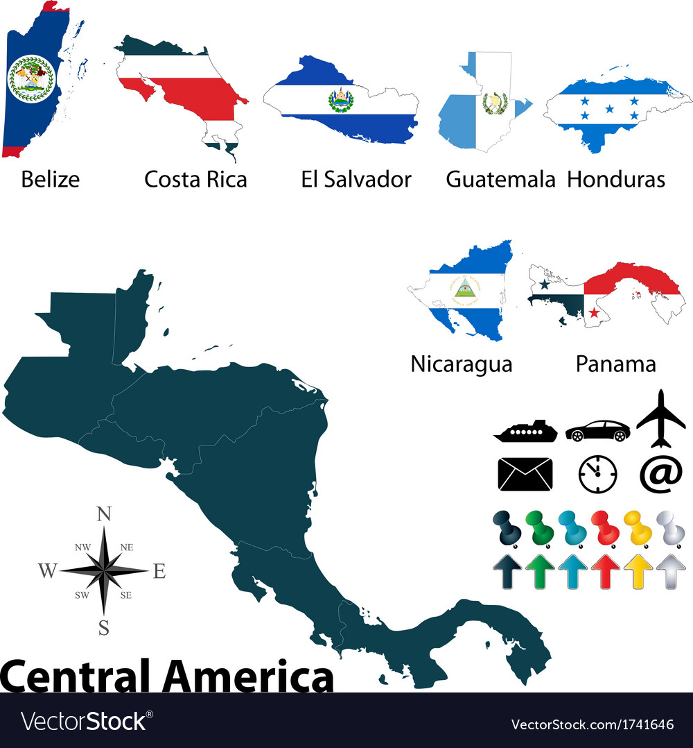 Image of: Maps With Flags Of Central America Royalty Free Vector Image