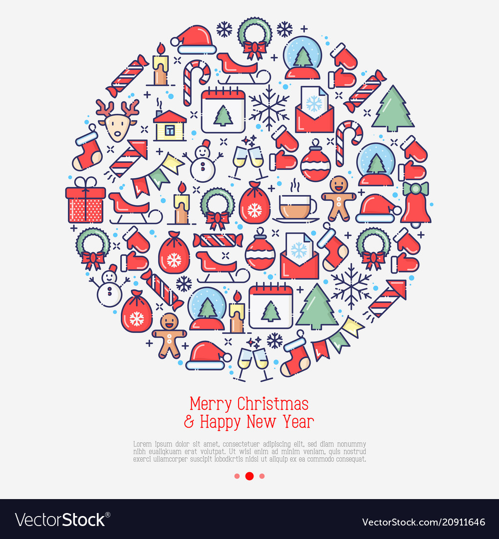 Merry christmas celebration concept in circle