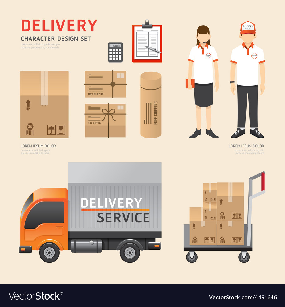 People set delivery shipping service job character