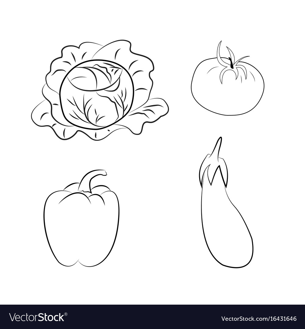 Set of vegetables coloring book contour Royalty Free Vector