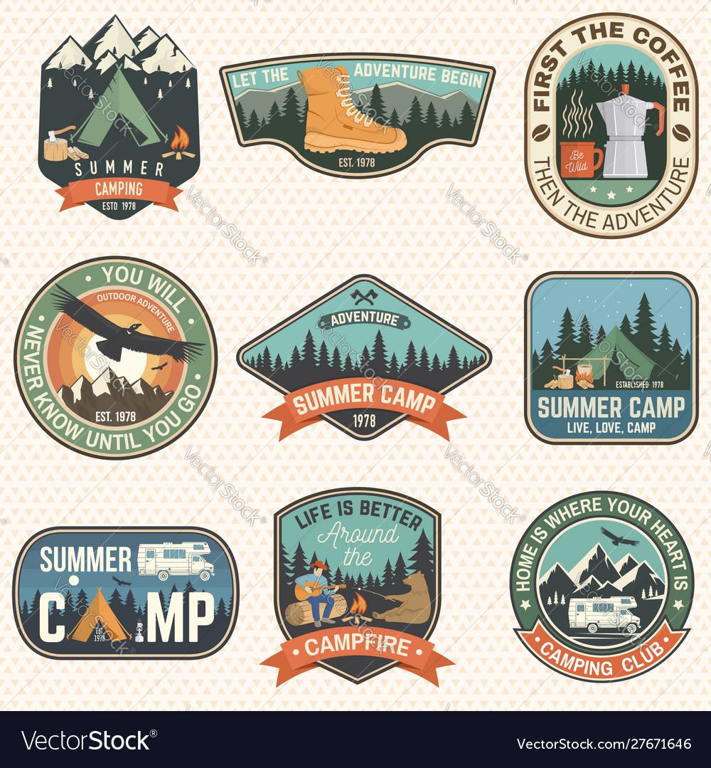 Set summer camp badges concept for