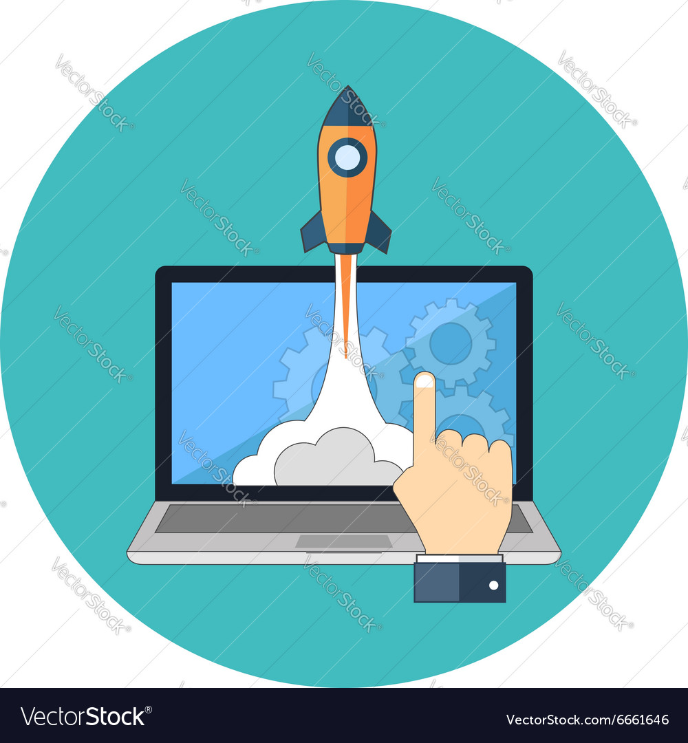 Startup launching new product concept Flat design vector image