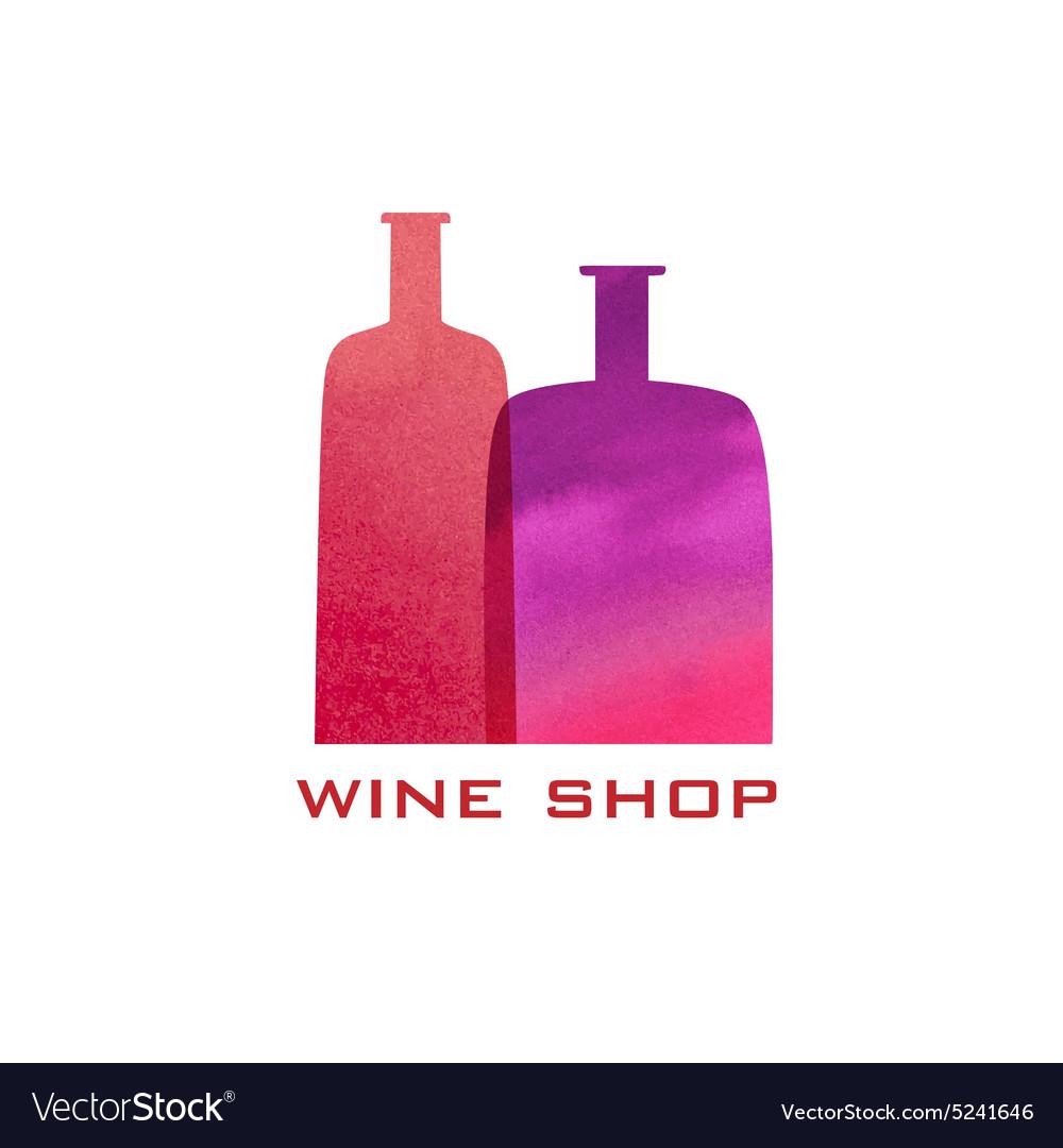 Two watercolor bottles silhouette Menu design