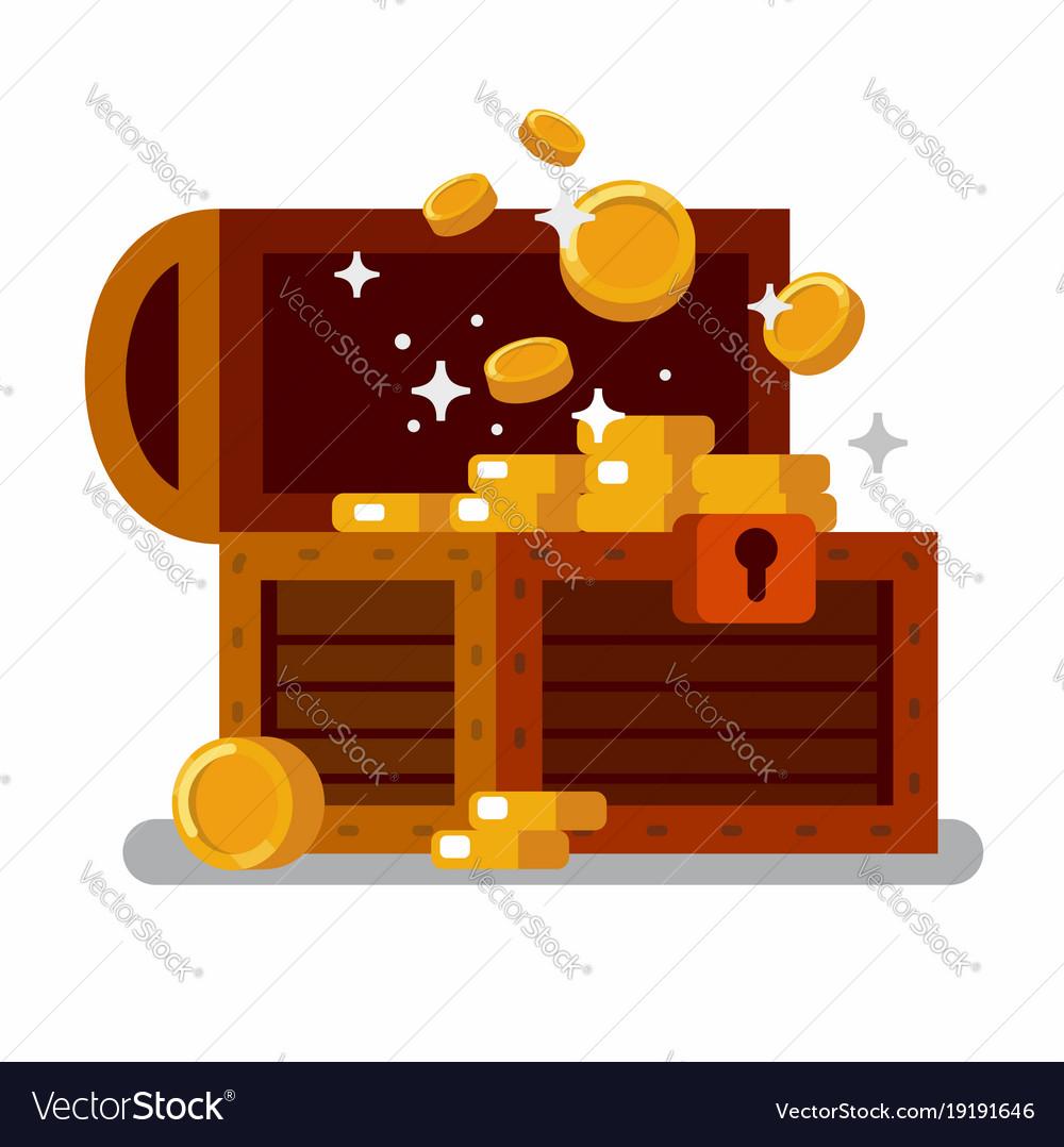 Wooden treasure chest full golden coins