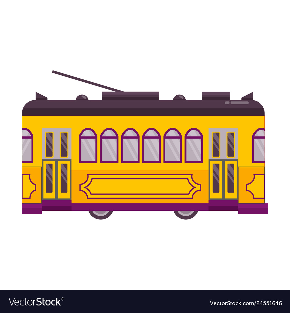 Yellow retro tram single icon