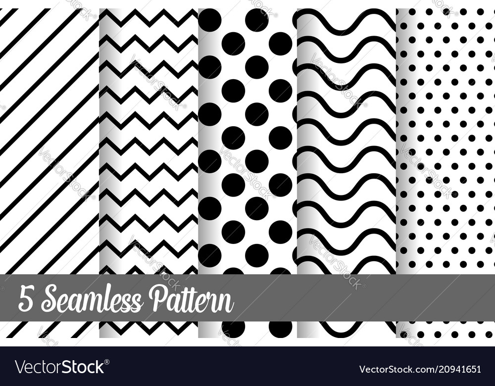 5 black and white seamless pattern set vector image
