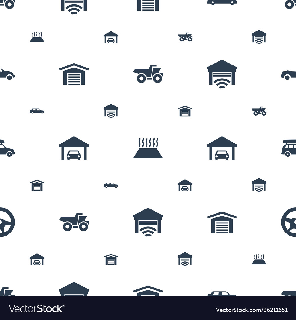 Automobile icons pattern seamless white background