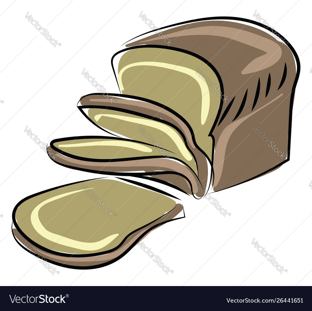 Brown bread on white background