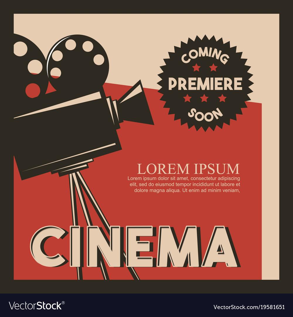 Cinema poster retro style camera film premiere
