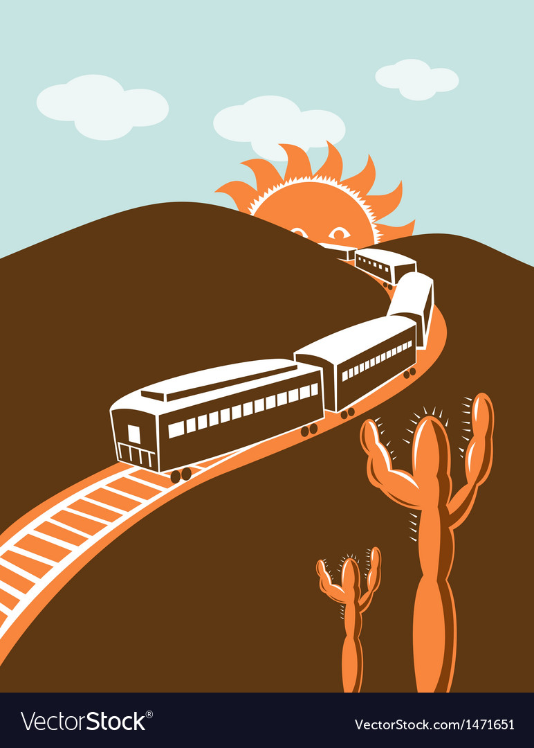 Diesel train locomotive retro sun and mountain