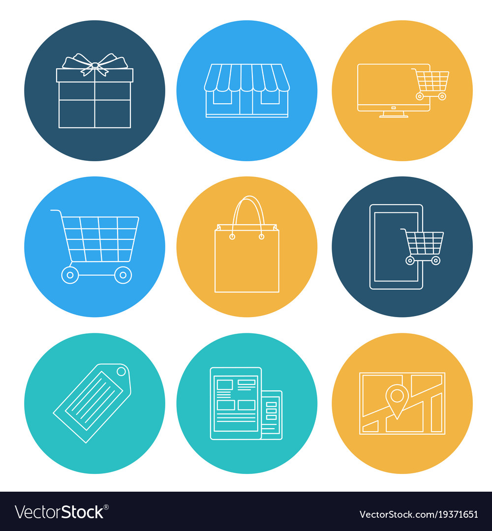 Flat lines shopping icons ecommerce elements
